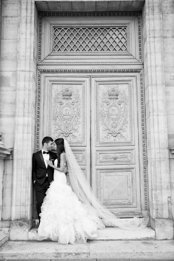 Cathedral length veil for Paris wedding