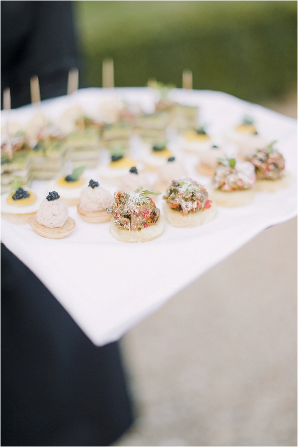 Champagne and canapes after ceremony