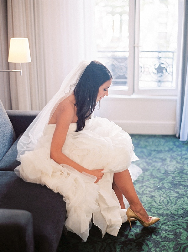 Elegant wedding gown for Paris wedding