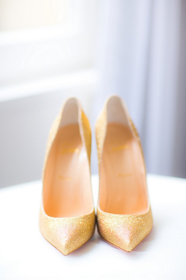 Gold Christian Louboutin wedding shoes