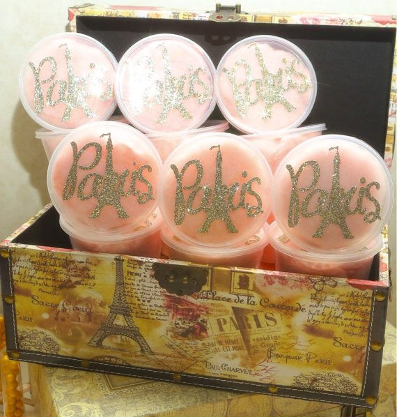 Paris themed favors - cotton candy Paris pots