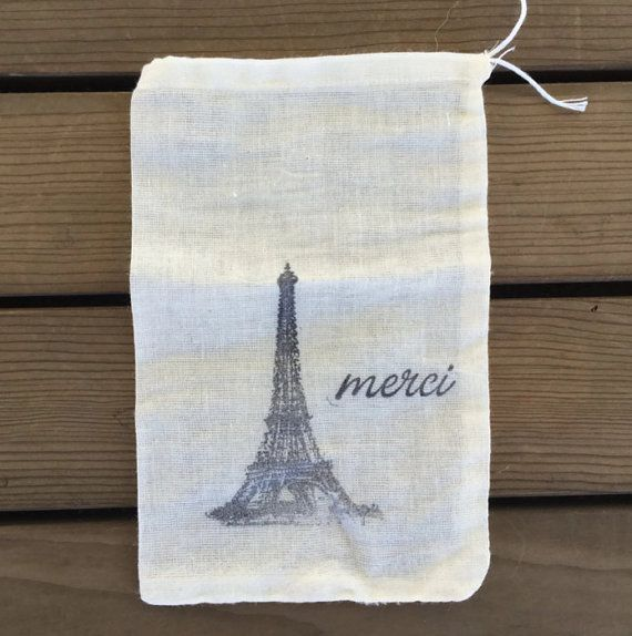 Paris themed thank you bags