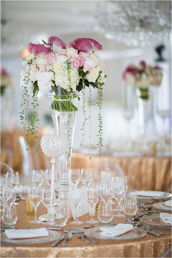 bouquets as wedding table decorations
