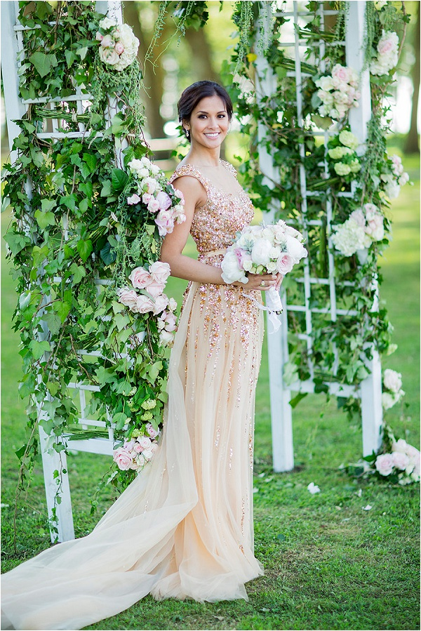 bride in gold wedding dress