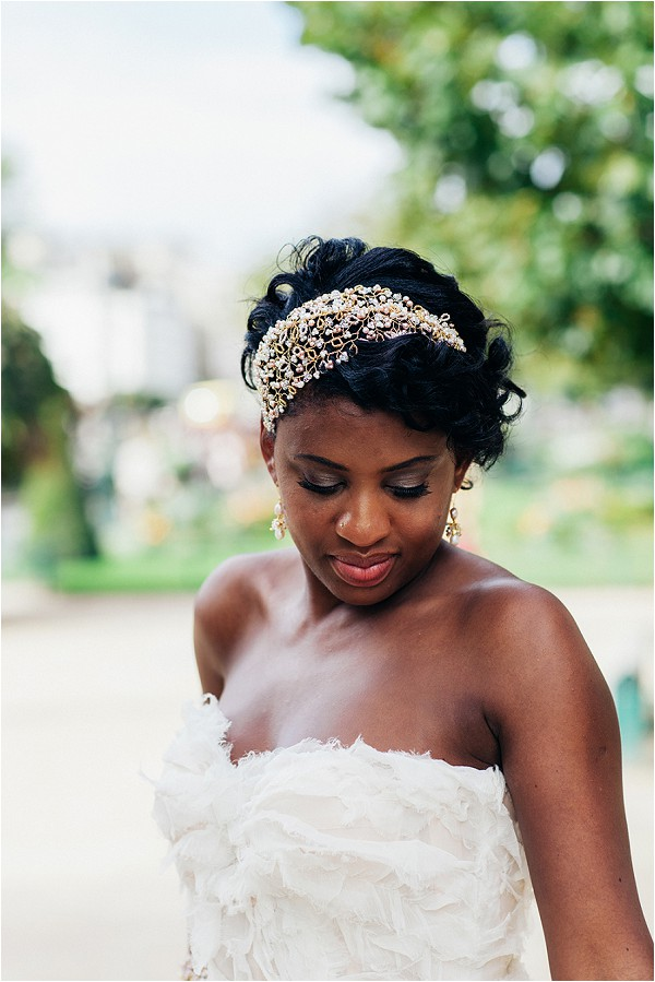 gold accent wedding hair accessory