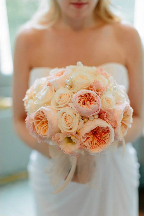 peach peony and rose wedding bouquet