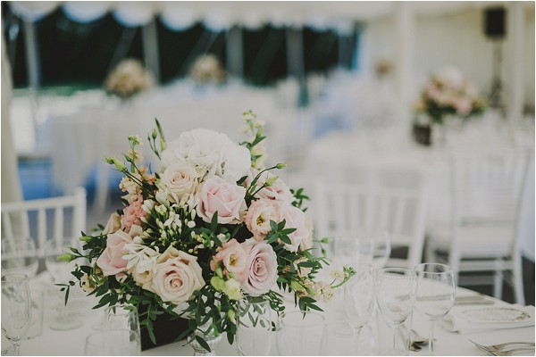 vintage white and pink wedding roses