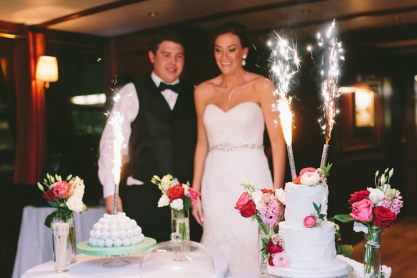 Bride and groom wedding cakes