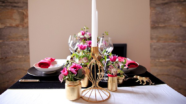 Gold and Pink Wedding Table