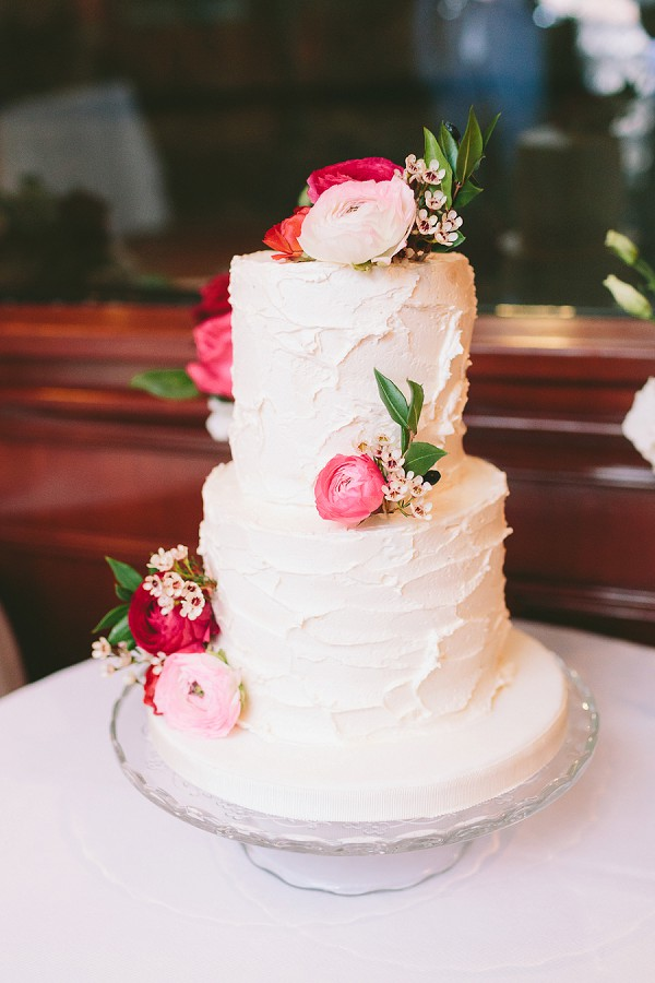 Simple Wedding Cake with Fresh Blooms