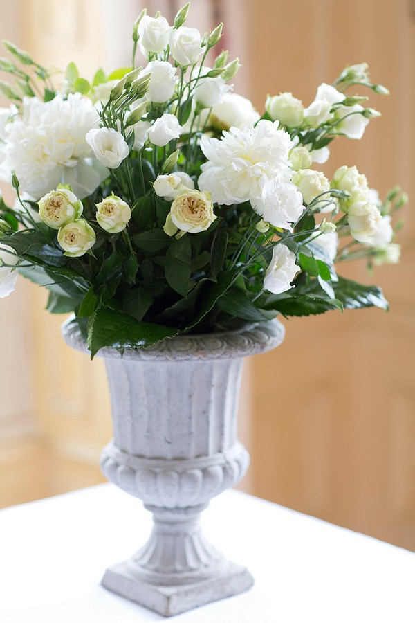 White, cream and green wedding flowers