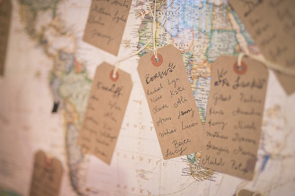 World map table plan wedding