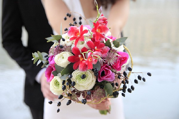 bright pink bridal bouquet