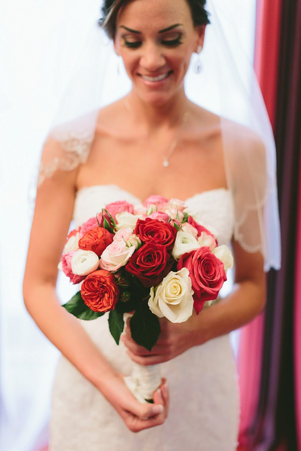 pink, white and red rose bridal bouquet