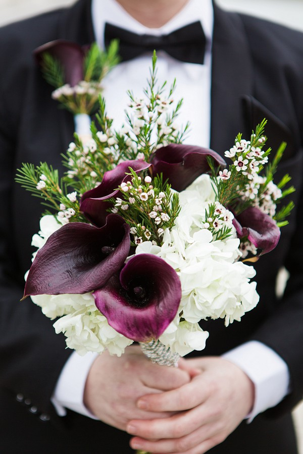 Deep purple wedding bouquet
