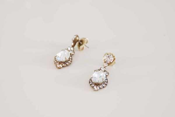 Diamond droplet wedding earrings