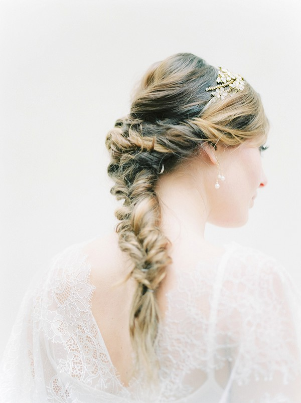 Fishtail wedding day hairstyle