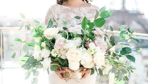 Garden roses and foliage wedding flowers