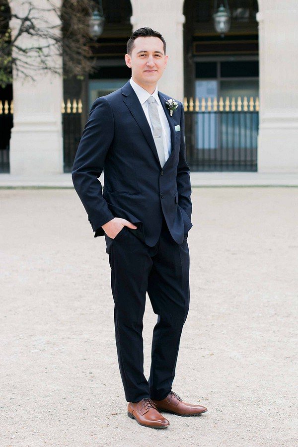 Navy blue groom attire