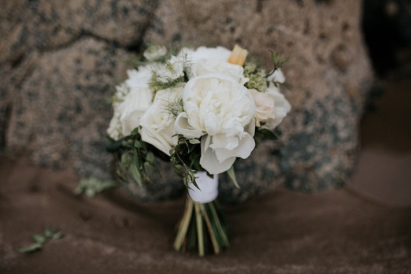 Simple and white bridal bouquet