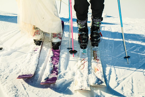 Skiing wedding day activity