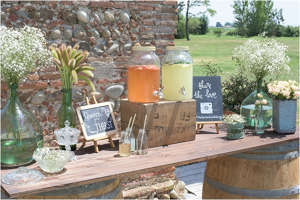 vintage wedding drinks station