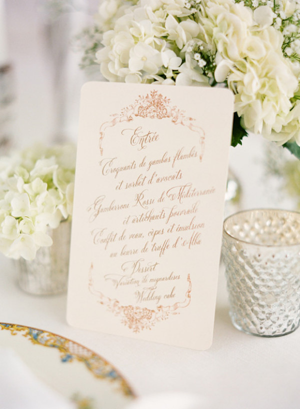 Typical French Wedding Menu - French Wedding Style