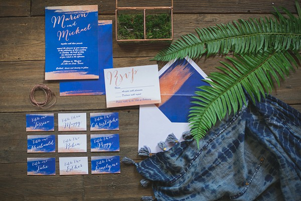 Blue wedding invite suite