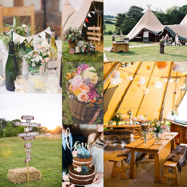 Rustic Countryside Tipi Wedding Inspiration Board