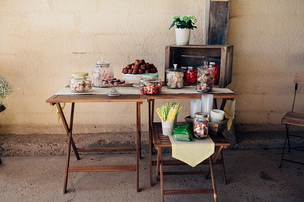 Rustic wedding sweet stall