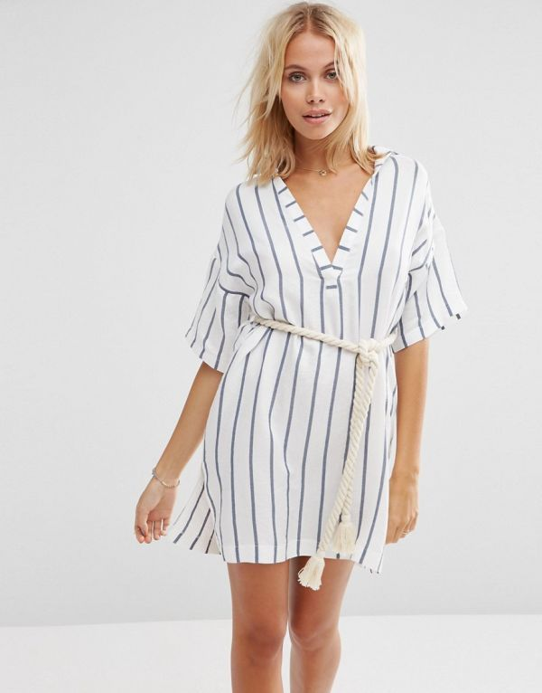 Stripe Rope Belted Beach Shirt Dress