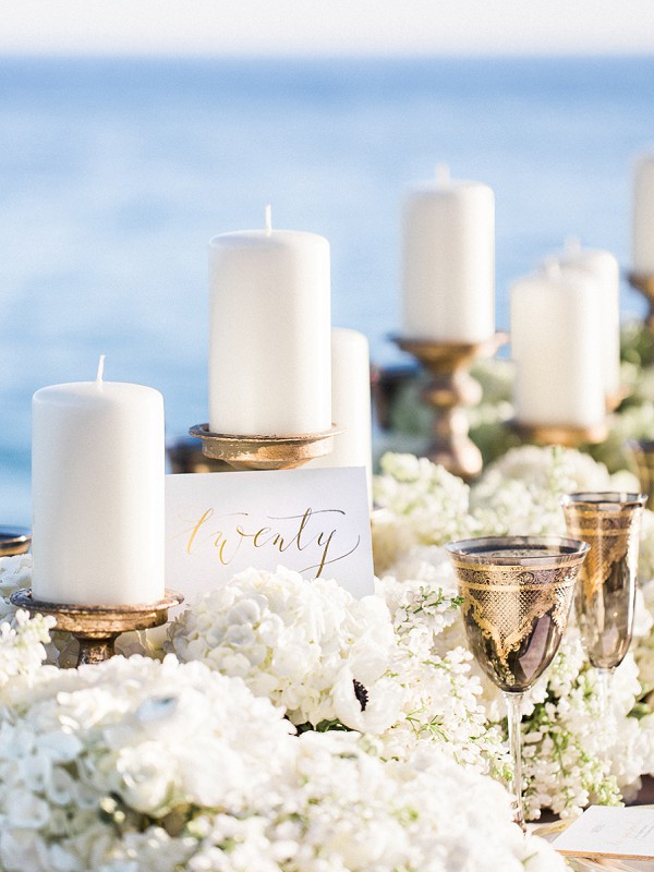 White and gold table settings