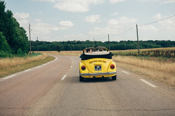Yellow beetle wedding car