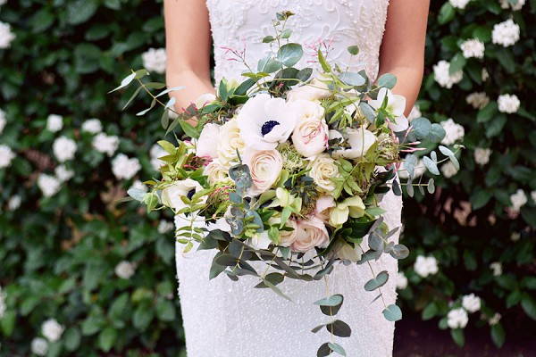 anemone and eucalyptus bouquet