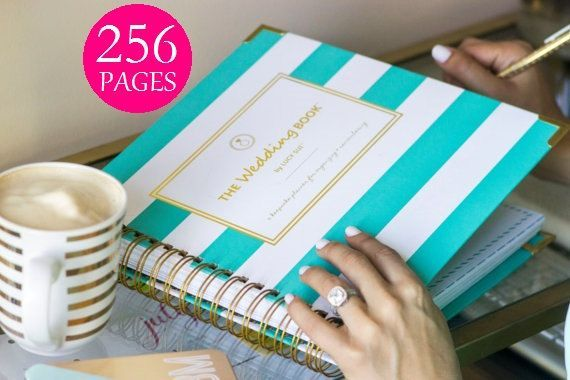 mint and white wedding planner book