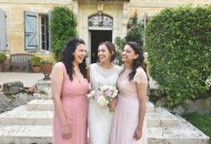 Pastel pink bridesmaid dresses