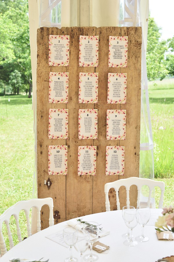 Rustic table plan idea