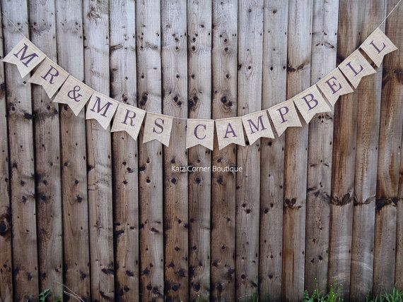 Autumn wedding personalised Mr & Mrs bunting banner