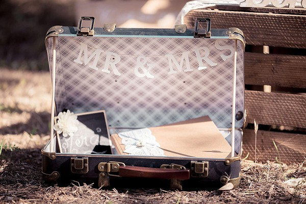 mr and mrs card suitcase