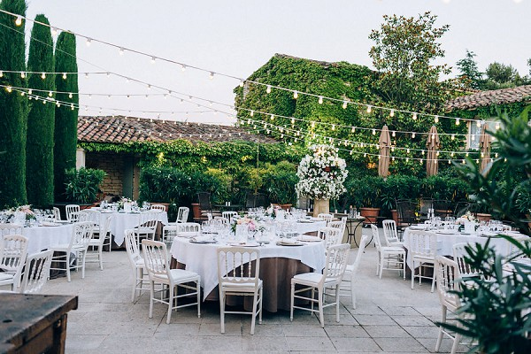 outdoor festoon wedding reception