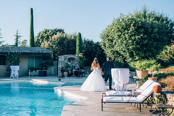 pool party wedding reception