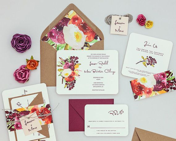 Rustic Modern Floral Wedding Invitations