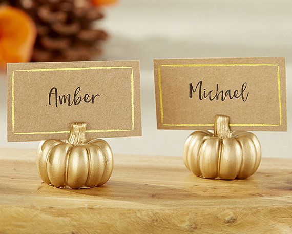 gold pumpkin place cards, Autumn Etsy Wedding Finds