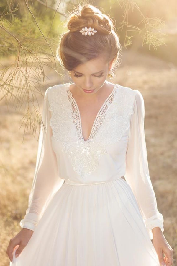 19 French Autumn Wedding Ideas Long sleeve wedding dress