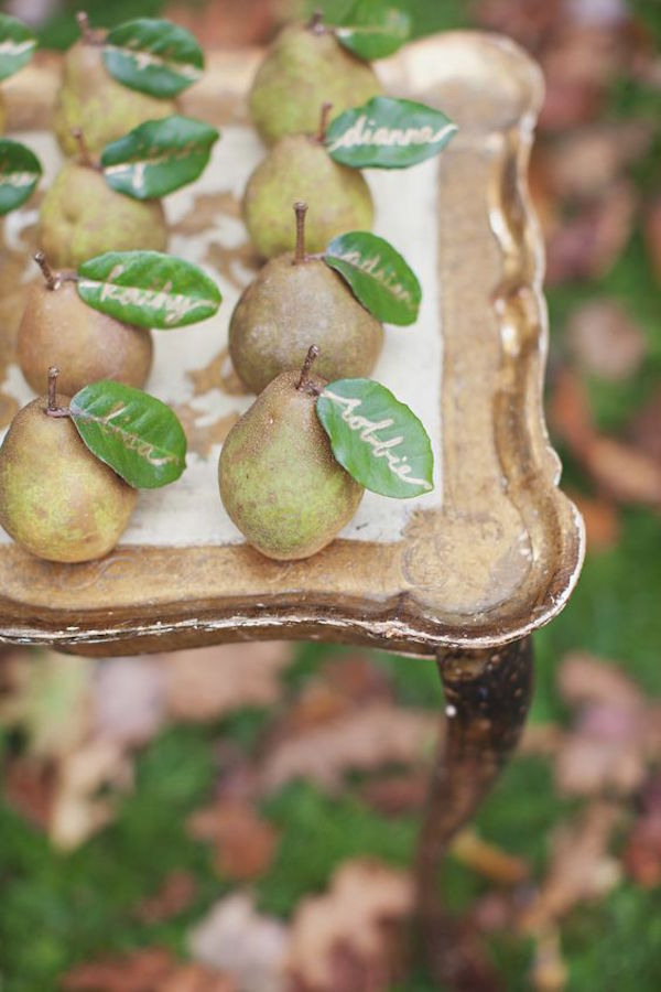 7 French Autumn Wedding Ideas Pears Name Cards