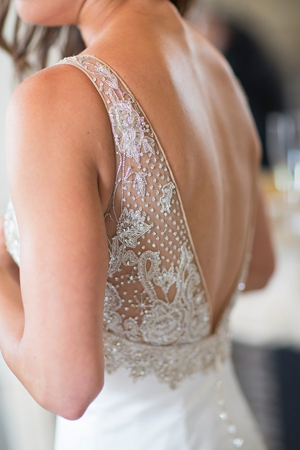 Backless sparkle wedding gown
