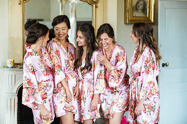 Bridesmaids floral dressing gowns