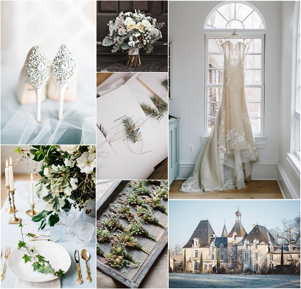 French Chateau Winter Wedding Inspiration Board