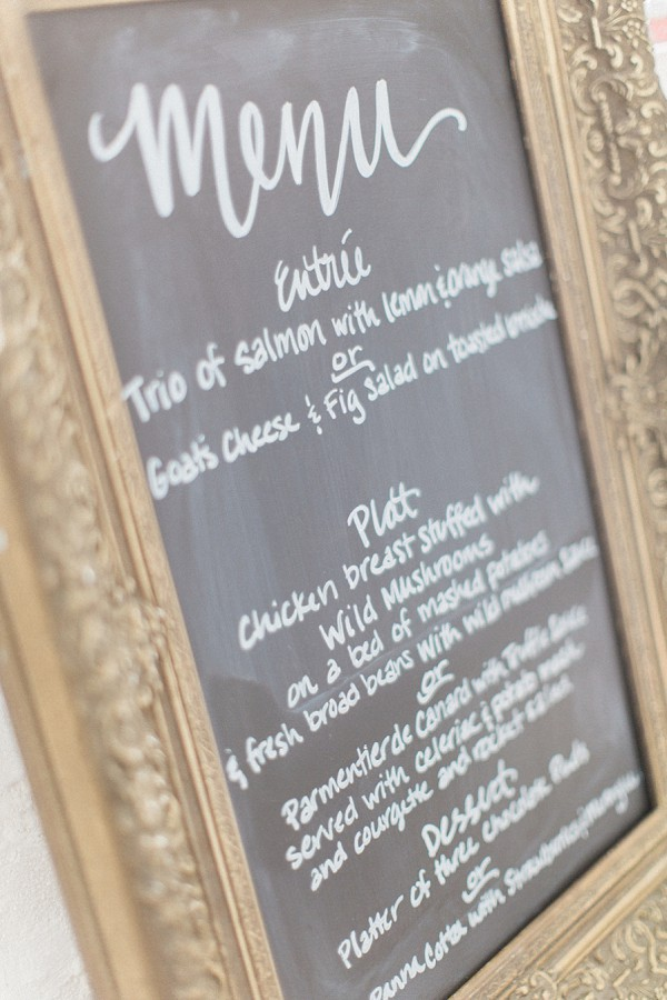 French wedding menu