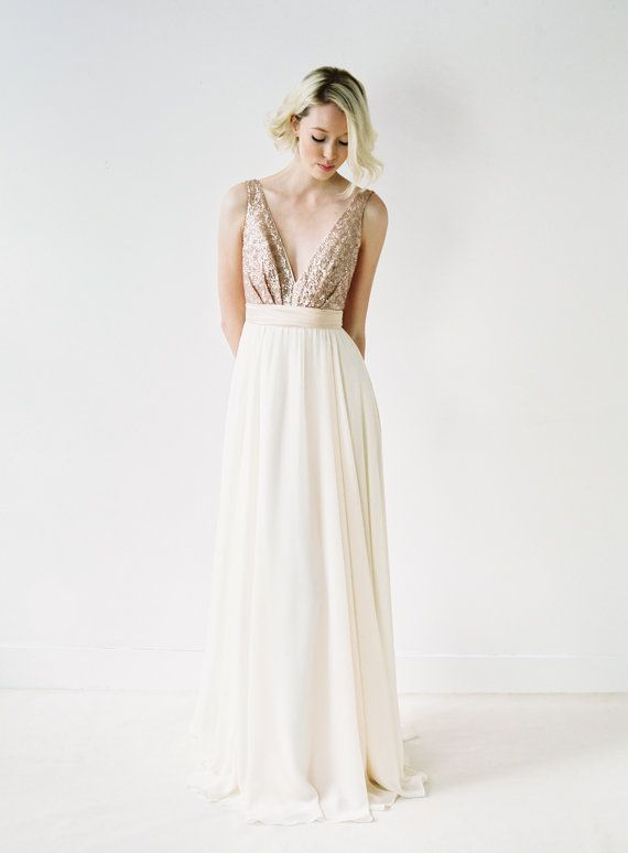 Rose Gold Sequinned Backless Wedding Dress